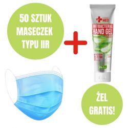 Zestaw higieniczny: 50 maseczek medycznych typ IIR + żel do dezynfekcji GRATIS
