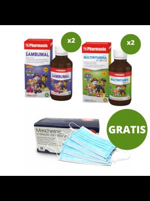 2x Syrop multiwitamina + 2x Sambumal + maseczki medyczne 50 sztuk GRATIS