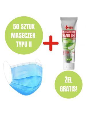 Zestaw higieniczny: 50 maseczek medycznych typ II + żel do dezynfekcji GRATIS
