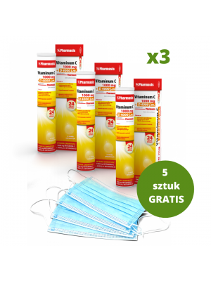 3x Vitaminum C+D + 5x maseczek medycznych GRATIS
