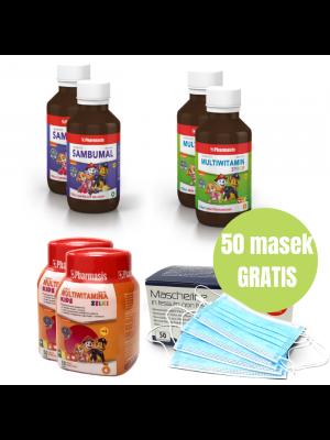 2x Syrop Multiwitamina + 2x Sambumal + 2x Żelki + 50x maseczek GRATIS